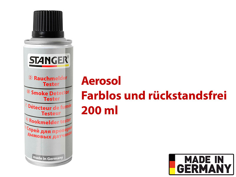 stanger rauchmelder testspray rauchmelder tester aerosol spray 200 ml made in germany pr fgas. Black Bedroom Furniture Sets. Home Design Ideas