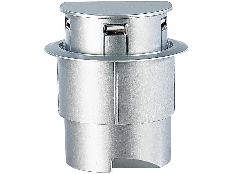 Xystec USB Hub Tischeinbau: Versenkbarerer 3-Port USB-Hub \