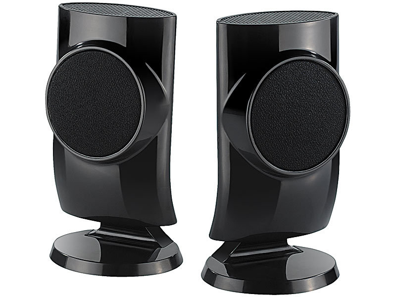 auvisio stereo usb lautsprecher designer aktiv lautsprecher mit usb stromversorgung 12 watt. Black Bedroom Furniture Sets. Home Design Ideas