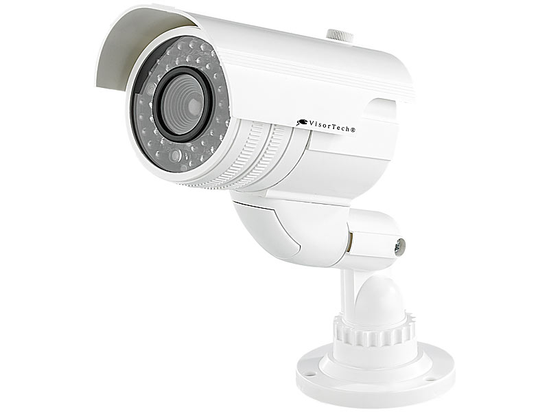 visortech video kamera attrappen profi berwachungskamera attrappe dummy mit led berwachungs. Black Bedroom Furniture Sets. Home Design Ideas