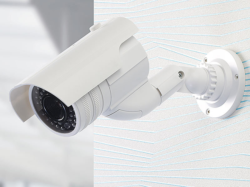 visortech video kamera attrappen profi berwachungskamera attrappe dummy mit led dummy cameras. Black Bedroom Furniture Sets. Home Design Ideas