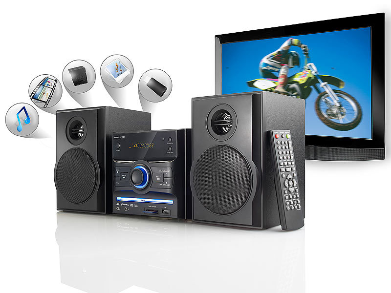 auvisio microsystem stereoanlage mit dvd usb sd 2x 15 w refurbished. Black Bedroom Furniture Sets. Home Design Ideas