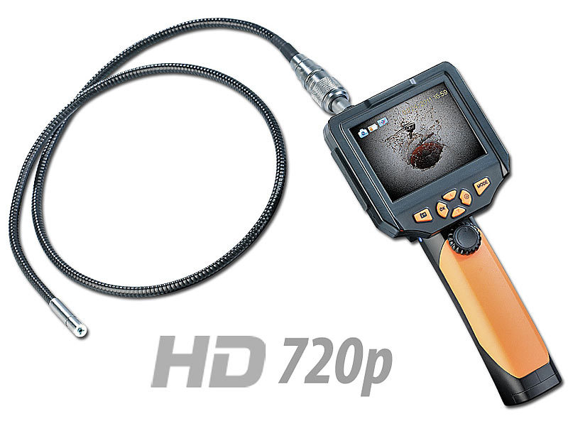 somikon hd endoskop kamera ec 8 2 mm mit monitor aufnahme l nge 5 m. Black Bedroom Furniture Sets. Home Design Ideas