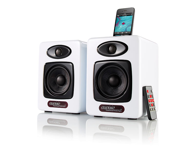 auvisio design stereo lautsprecher mit dock f r ipod iphone 4 4s 100 w wei. Black Bedroom Furniture Sets. Home Design Ideas