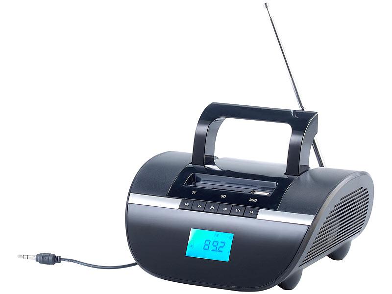 auvisio tragbares radio mobiler lautsprecher mit bluetooth mp3 sd usb wecker akku 15 watt. Black Bedroom Furniture Sets. Home Design Ideas