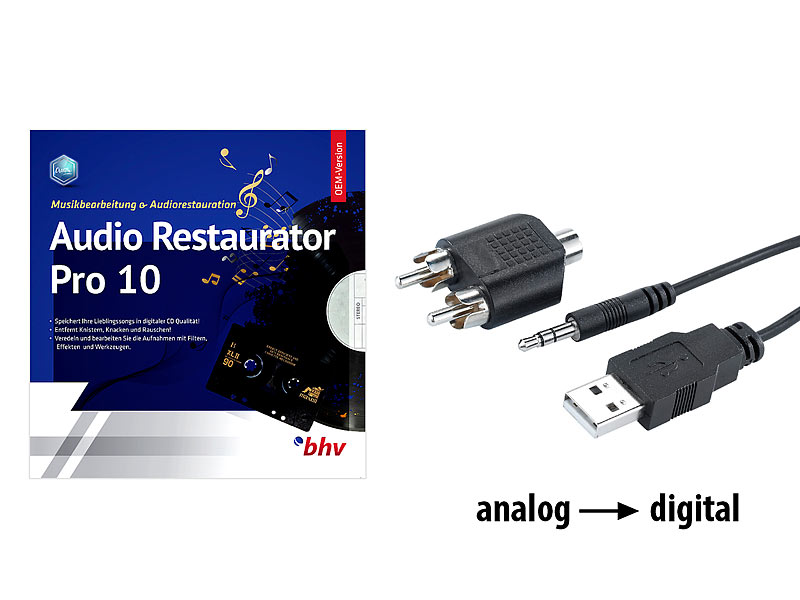 Audio-Digitalisierer & MP3-Recorder mit Restaurator-Software
