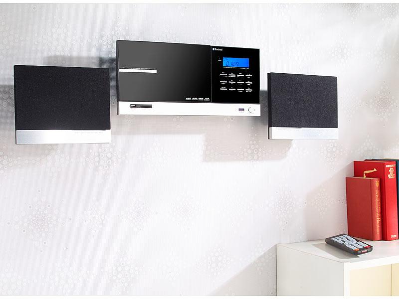 Auvisio hifi stereoanlage m bluetooth cd usb fm - Chaine hifi murale design ...