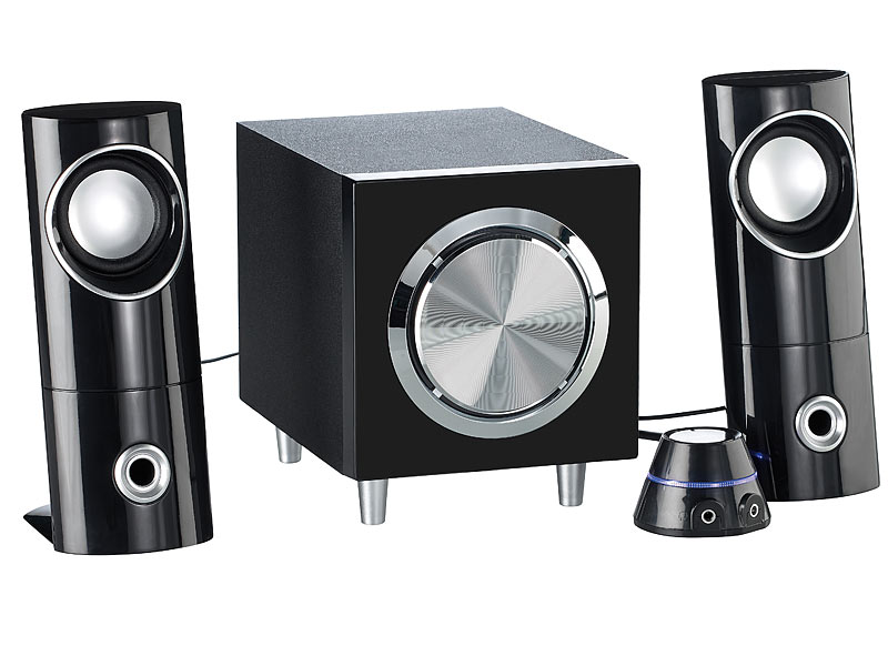 auvisio aktives 2 1 multimedia soundsystem mit subwoofer. Black Bedroom Furniture Sets. Home Design Ideas