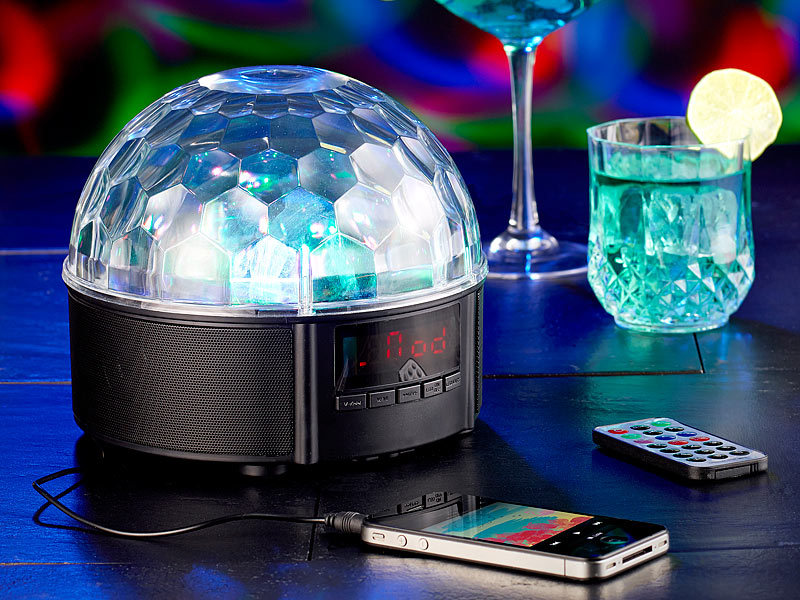 auvisio mobile discokugel mit lautsprecher bluetooth mp3. Black Bedroom Furniture Sets. Home Design Ideas