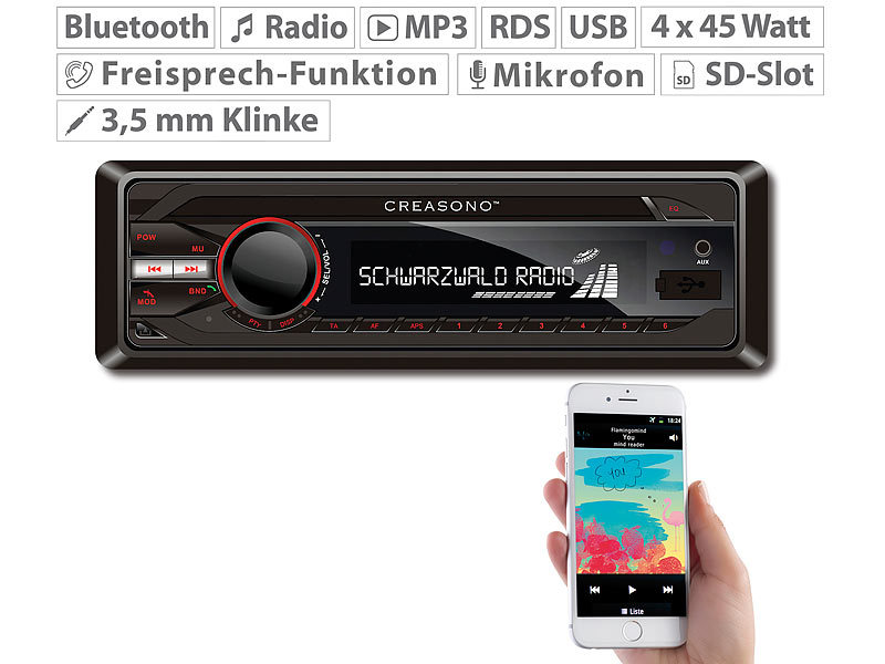 MP3-RDS-Autoradio CAS-3300.bt mit USB, SD, BT & Freisprecher