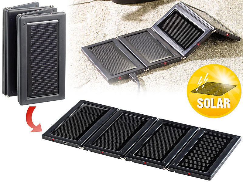 revolt mini solarzellen faltbares mini solarpanel mit 4 monokristallinen zellen usb handy. Black Bedroom Furniture Sets. Home Design Ideas