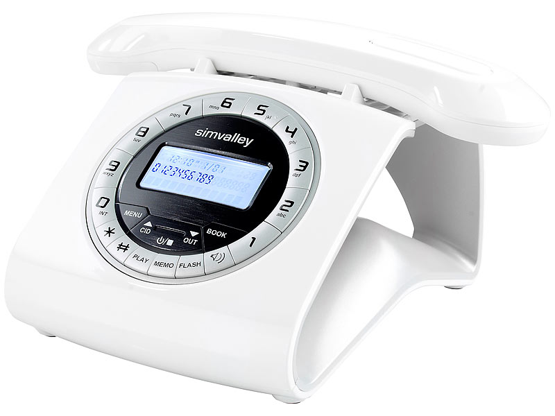 simvalley munications Retro DECT Schnurlostelefon mit