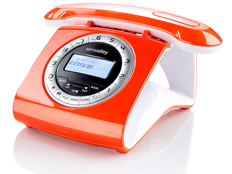 simvalley retro dect schnurlostelefon mit anrufbeantworter orange. Black Bedroom Furniture Sets. Home Design Ideas