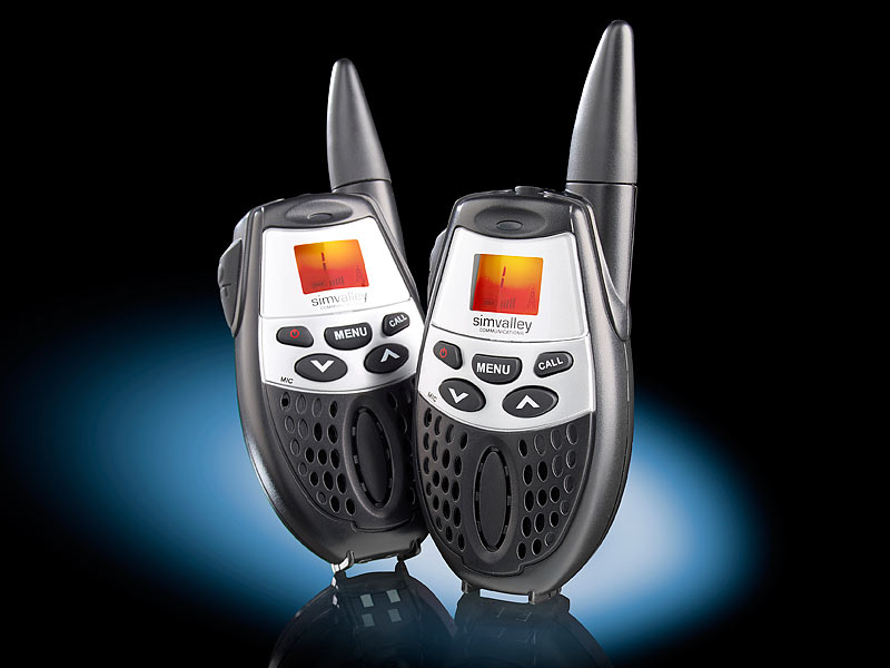 simvalley communications walkie talkie set mit vox und 5 km reichweite. Black Bedroom Furniture Sets. Home Design Ideas