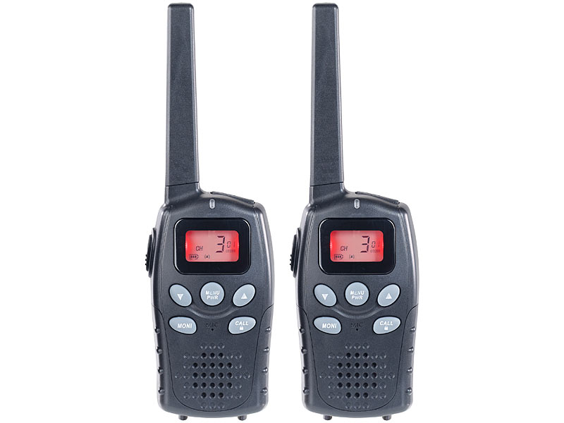 Profi-Walkie-Talkie-Set, bis 10 km, VOX, Akkus, USB-Ladeport, 2er-Set