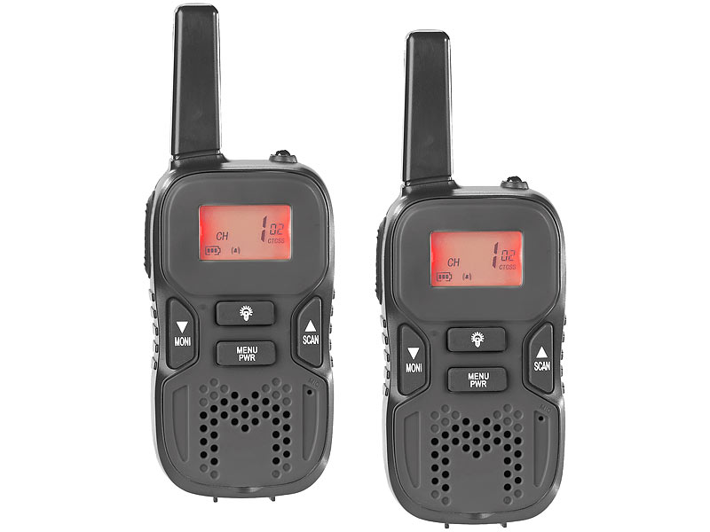 Walkie-Talkie-Set m. VOX, 5 km Reichweite, Micro-USB-Ladeport, 2er-Set