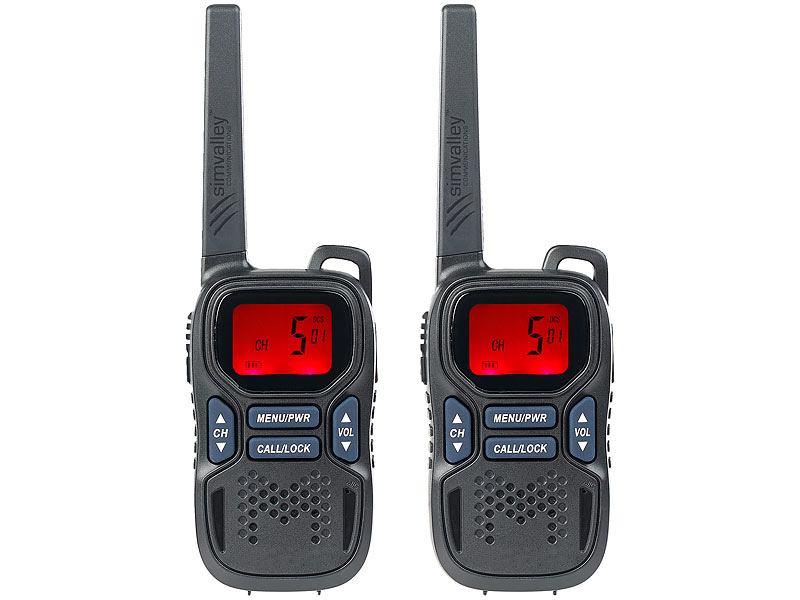 2er-Set Profi-Walkie-Talkies mit VOX, 10 km, USB, extragroßes Display