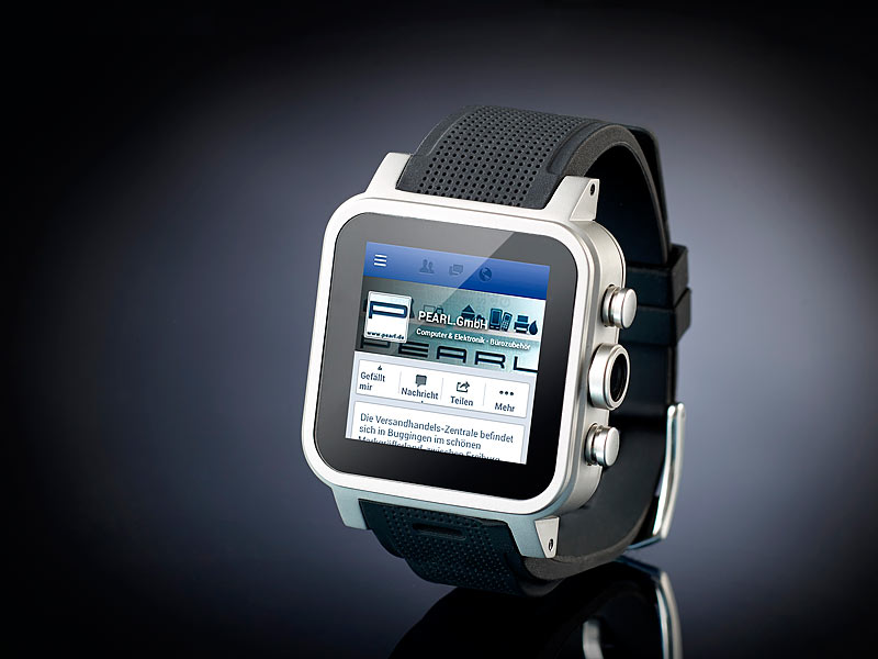 """simvalley Mobile 1.5""""-Smartwatch AW-421.RX 512MB RAM, Alu"""