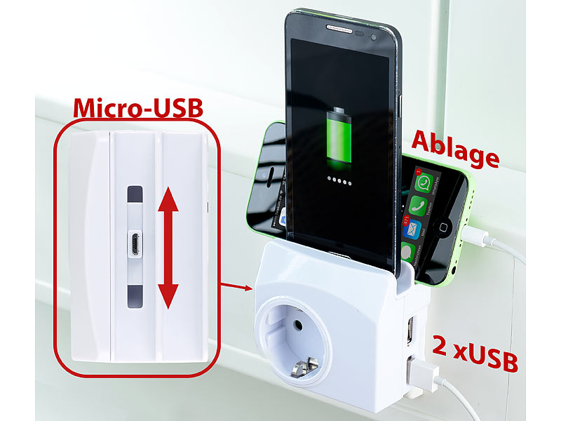 revolt 4in1 steckdose 2x usb 1x micro usb smartphone ablage 2 1 a 10 5 w. Black Bedroom Furniture Sets. Home Design Ideas