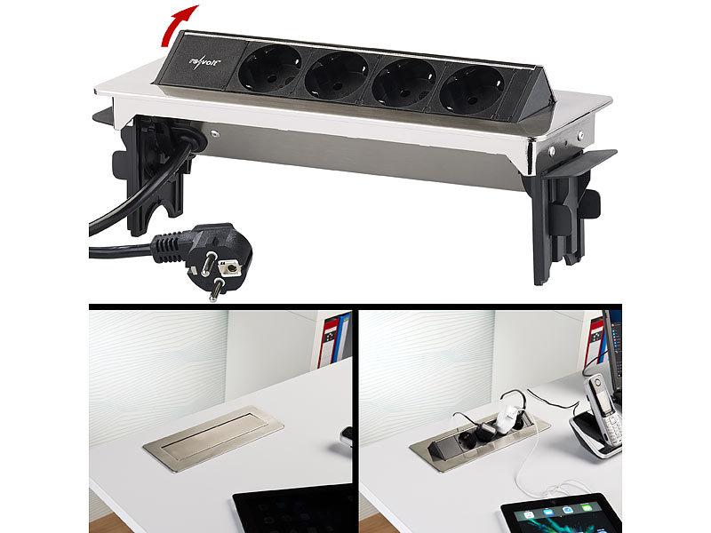 revolt versenkbare profi einbau tisch steckdose 4 fach edelstahl 3500 watt. Black Bedroom Furniture Sets. Home Design Ideas