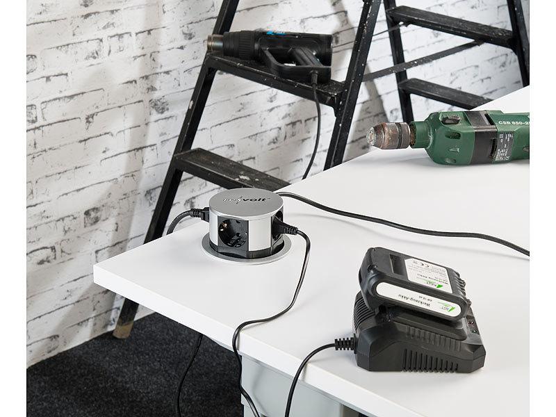 revolt Tisch Einbausteckdose: Versenkbare Profi-Einbau-Tisch ...