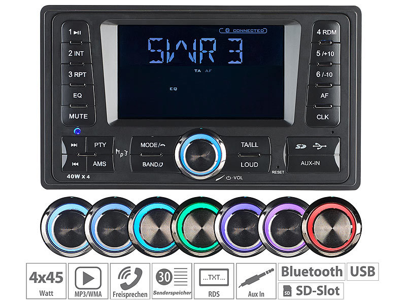 2-DIN-MP3-Autoradio CAS-4380.bt mit RDS, Bluetooth, USB & SD, 4x 45 W