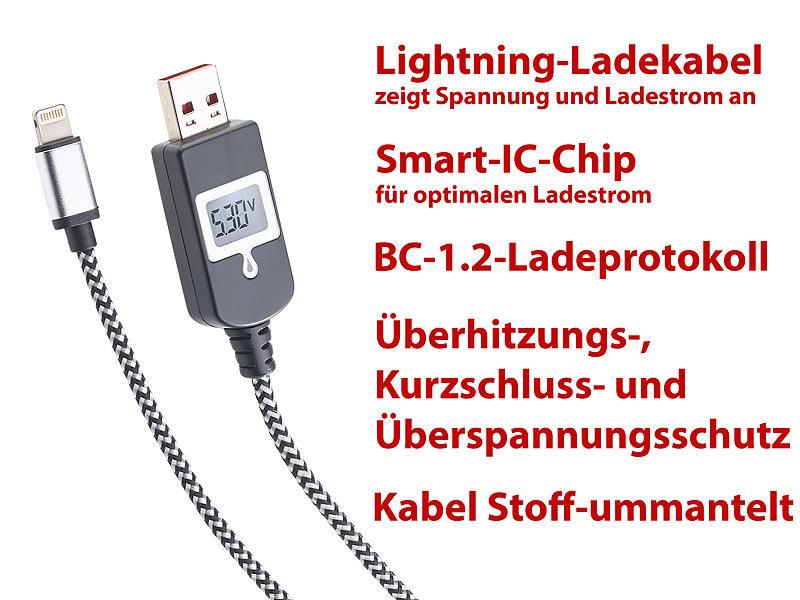 Lightning-Ladekabel mit Smart-IC-Chip und LCD-Spannungsanzeige