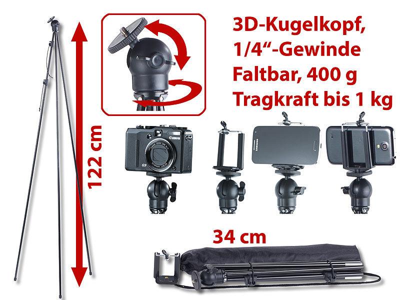 Faltbares Reise-Kamerastativ Smartphone-Adapter, 34cm / 122cm, 400g