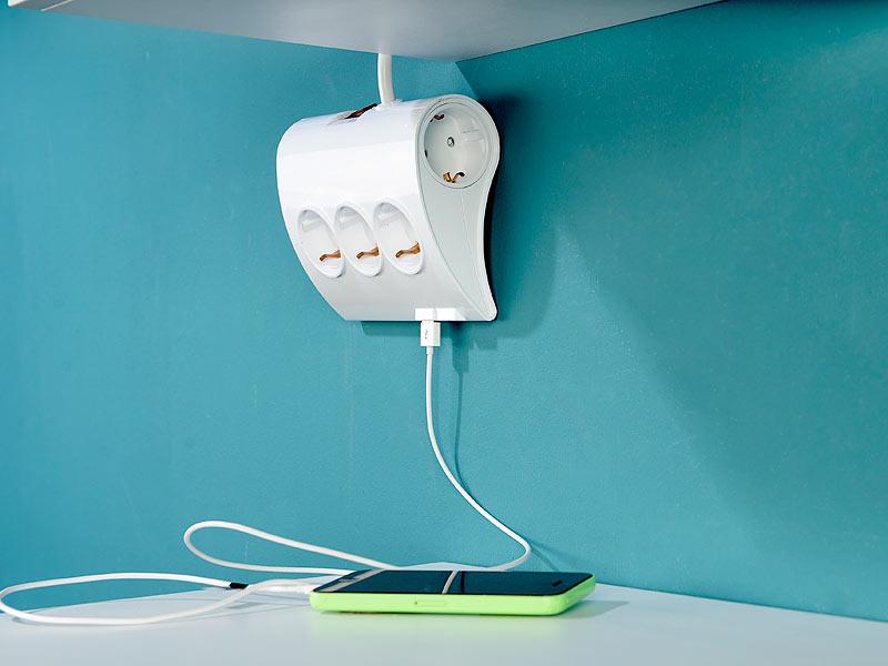 revolt tischsteckdosenleiste 5 fach tisch steckdosenleiste mit 2 usb ports auch zur. Black Bedroom Furniture Sets. Home Design Ideas