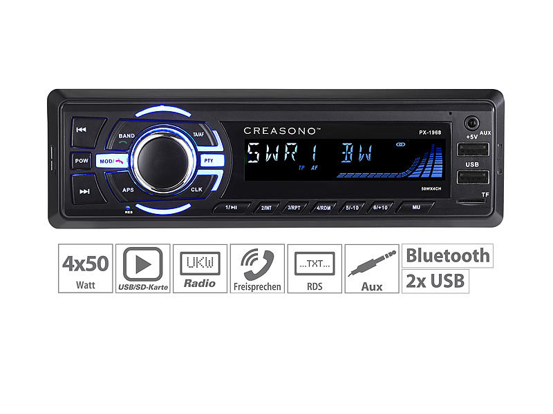 MP3-Autoradio, Bluetooth, Freisprechfunktion, RDS, 2x USB, SD, 4x 50 W