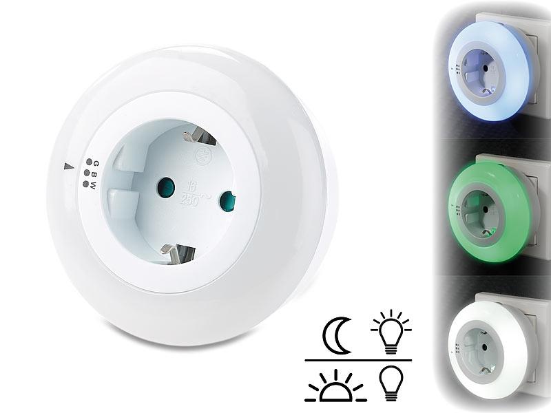 revolt nachtlicht lampen led nachtlicht mit d mmerungssensor und steckdose 3 farben. Black Bedroom Furniture Sets. Home Design Ideas