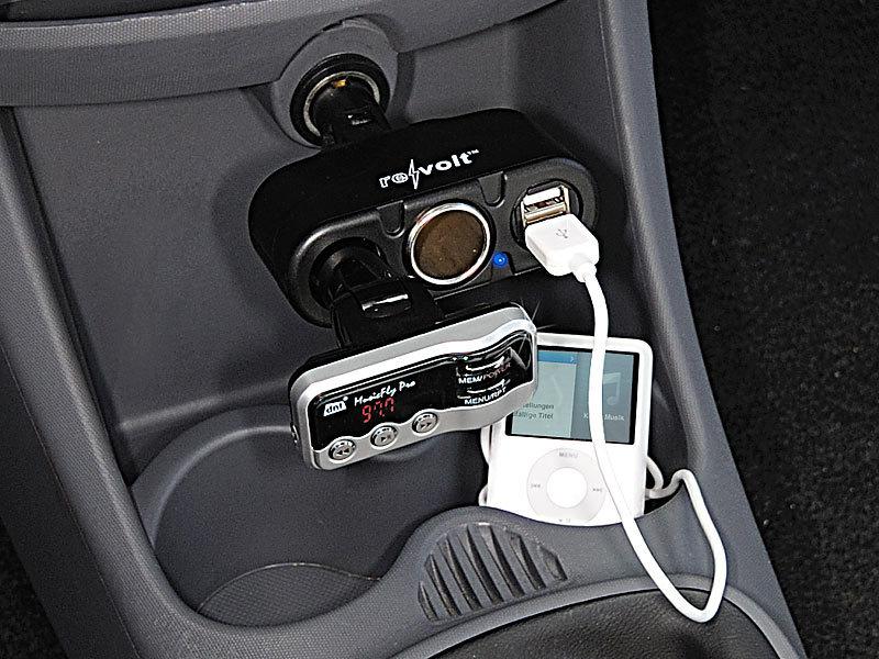 Auto PKW KFZ Ladegerät 12V 2x USB 2x Zigarettenanzünder Getränkehalter Verteiler