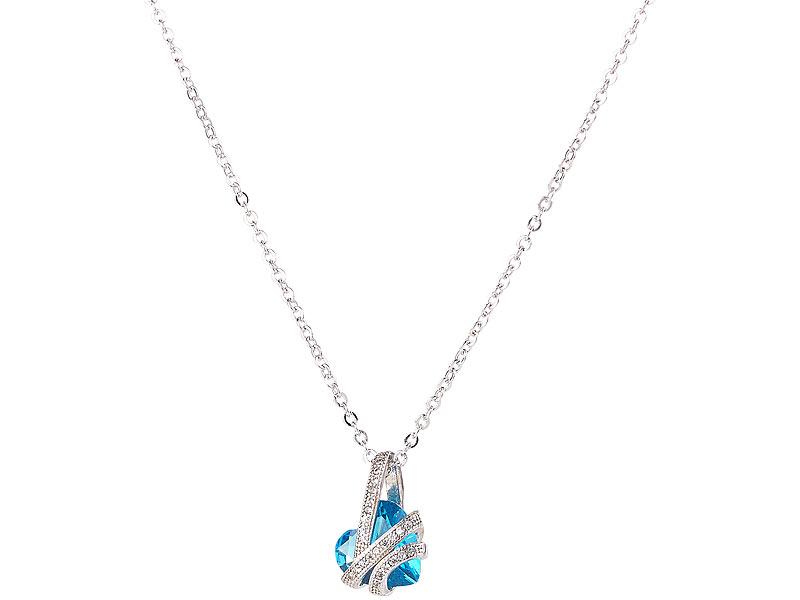 6716008dc115 ... St. Leonhard Halskette mit blauem Zirkonia-Herzanhänger und  Schmucksteinen, 45 cm St. ...