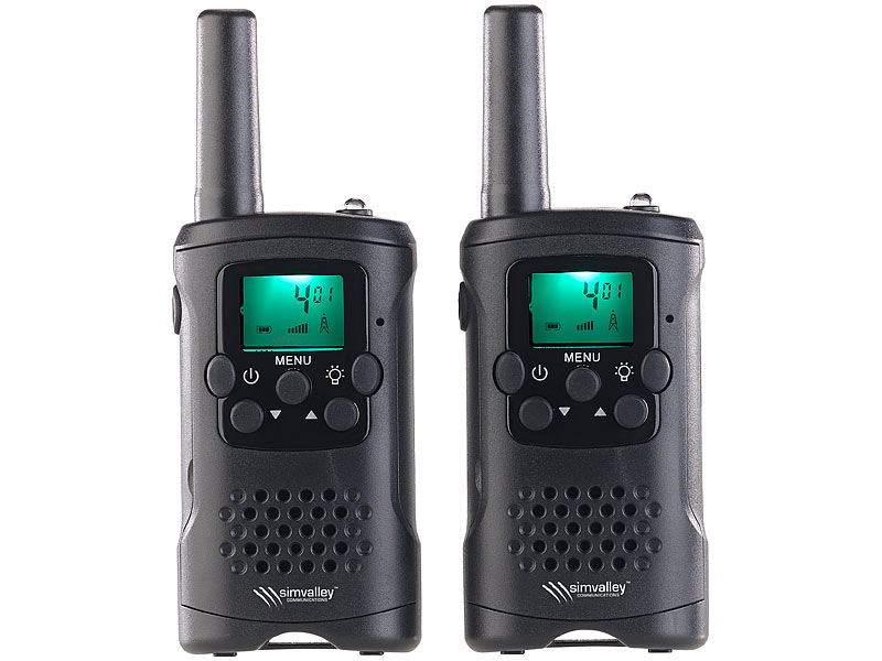 simvalley walkie talkie 2er set pmr funkger te mit vox 10 km reichweite led taschenlampe. Black Bedroom Furniture Sets. Home Design Ideas