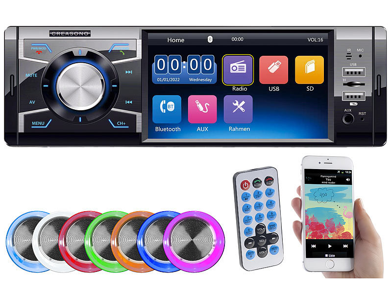 MP3-Autoradio mit TFT-Farbdisplay, Bluetooth, Freisprecher, 4x 45 Watt