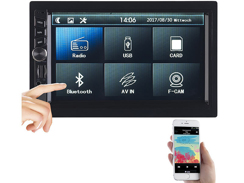 2-DIN-MP3-Autoradio mit Touchdisplay, Bluetooth, Freisprecher, 4x 45 W