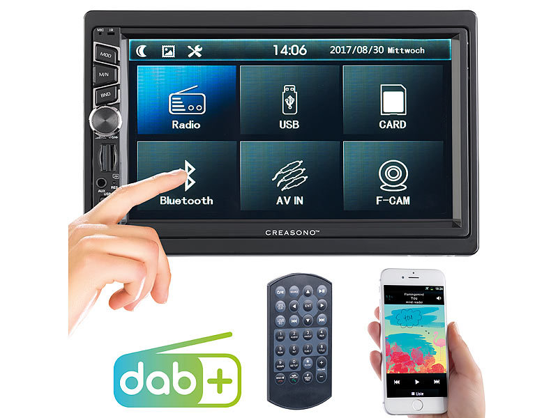 2-DIN-DAB+/FM-Autoradio, Touchdisplay, Bluetooth, Freisprecher, 4x45 W