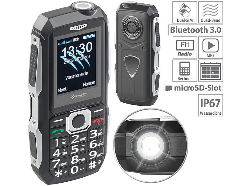 Stoßfestes Outdoor-Handy, Dual-SIM-Funktion, Bluetooth, FM-Radio, IP67
