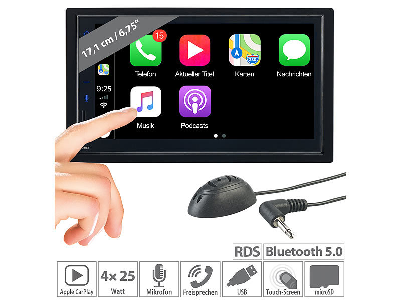 2-DIN-Autoradio mit Freisprechfunktion, Apple CarPlay, 17,1-cm-Display