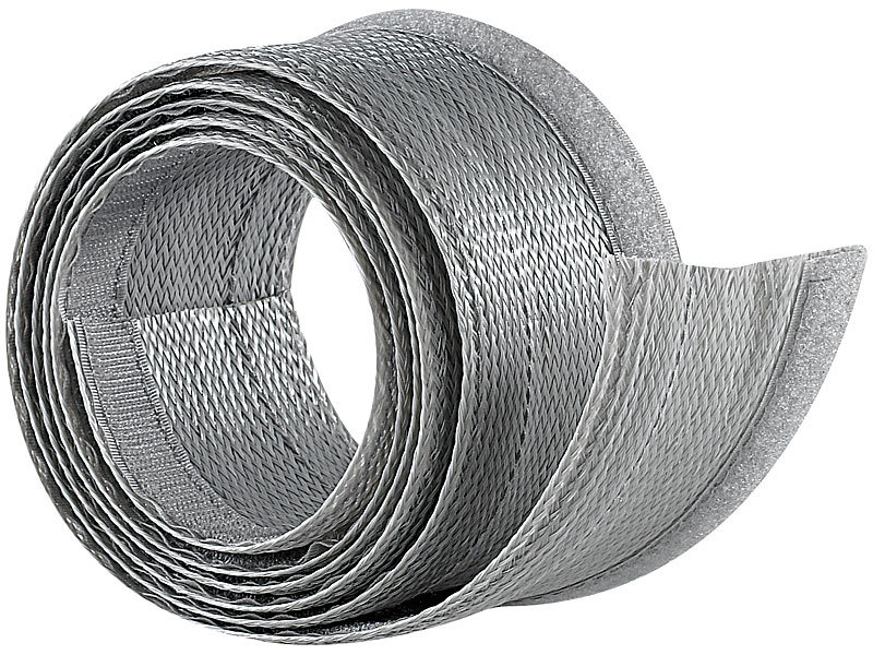 Flexibler silberner 1,8m Kabelschlauch mit praktischem Klettverschluss
