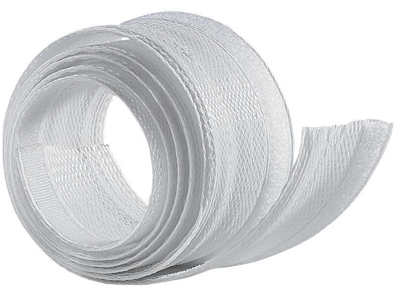 Flexibler weißer 1,8m Kabelschlauch mit praktischem Klettverschluss