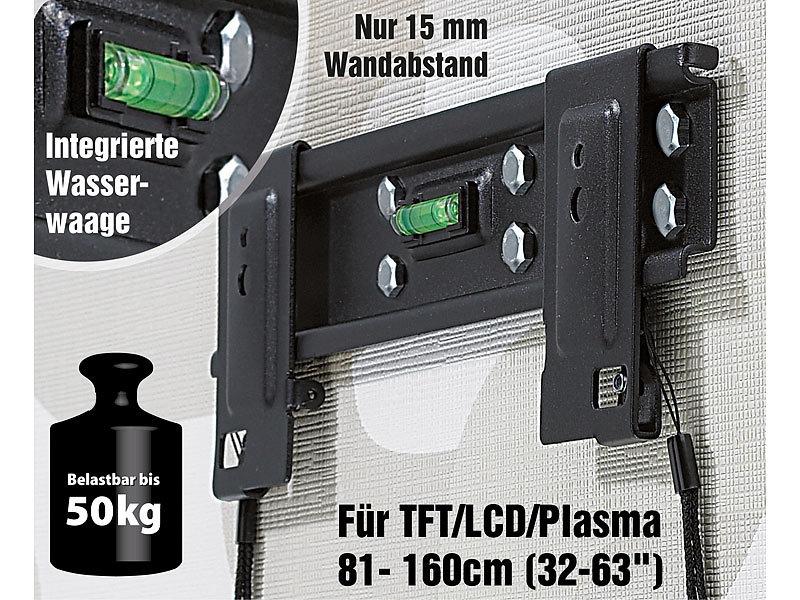 """Ultraflache TV-Halterung VESA600 für TFT/LCD/Plasma 81- 160cm (32-63"""")"""