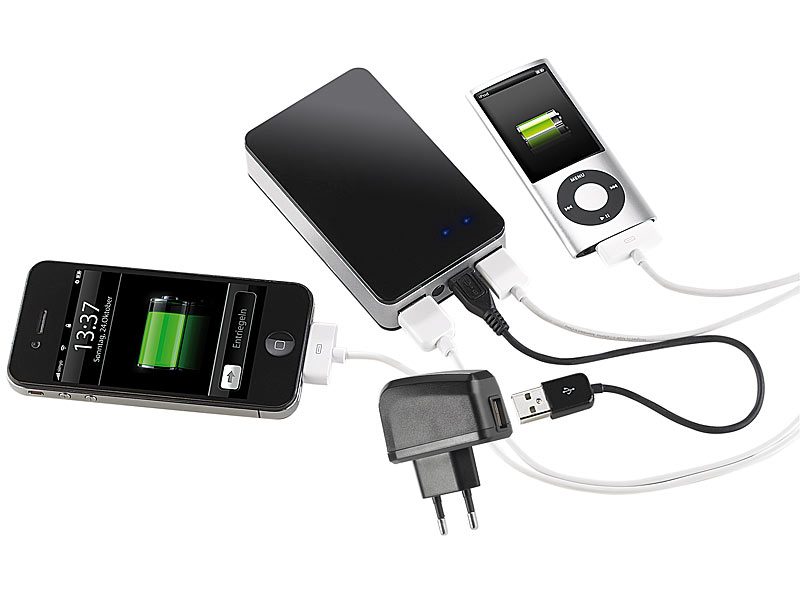 revolt powerbank mit 6600 mah f r ipod iphone handy. Black Bedroom Furniture Sets. Home Design Ideas