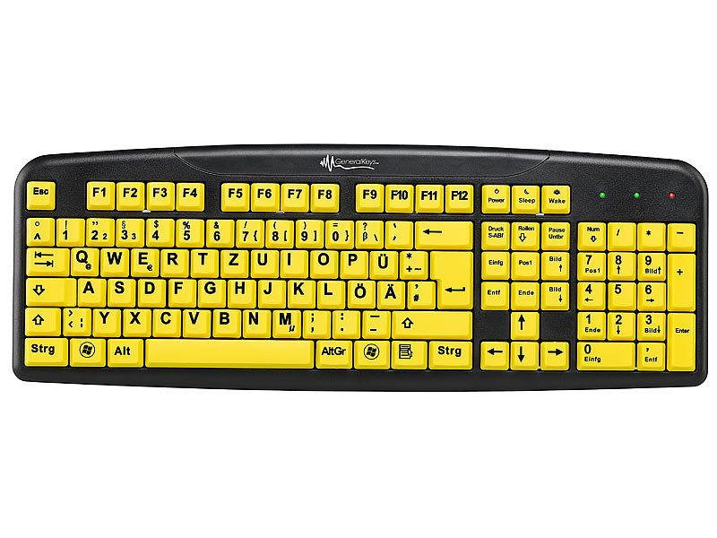 GeneralKeys Tastatur gelb: Komfort Tastatur mit Großschrift