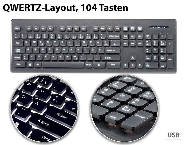 Beleuchtete Business-USB-Tastatur mit Nummernblock, QWERTZ