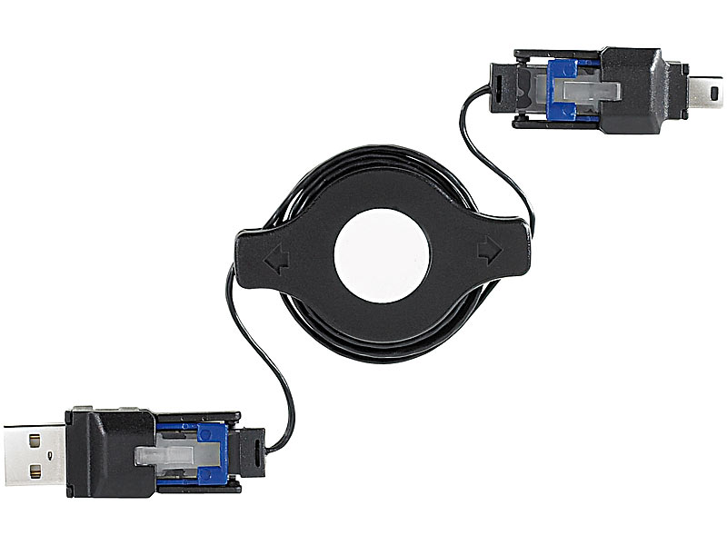 3in1-USB-Kabeltrommel: Mini-USB/RJ45/für iPhone