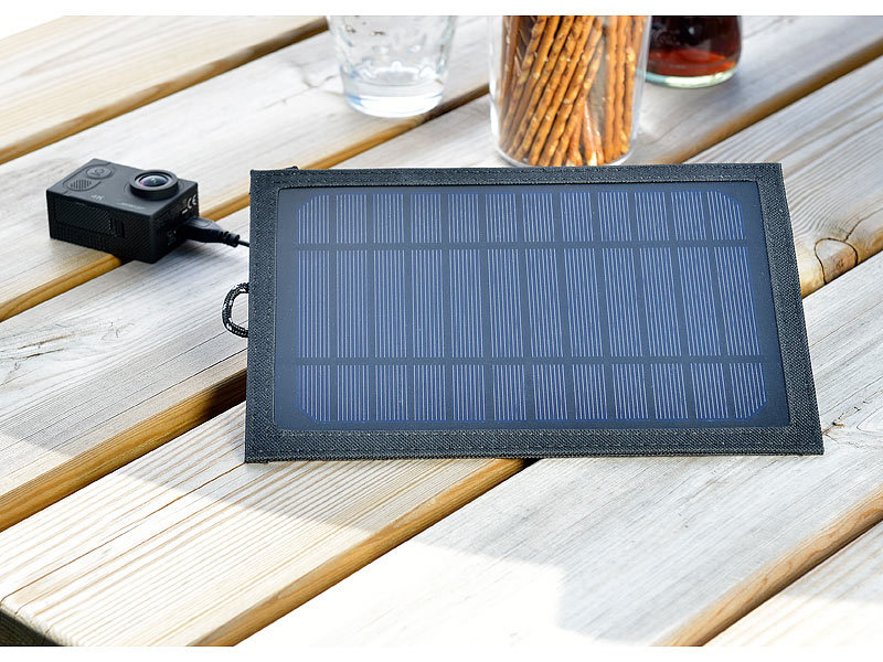revolt solar panel usb usb solarpanel f r mobilger te powerbanks 5 watt 5 v 1 a solarlader. Black Bedroom Furniture Sets. Home Design Ideas