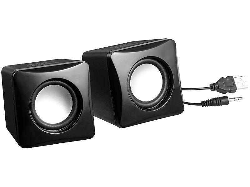 Auvisio Stereo Aktiv Lautsprecher Im Cube Design Usb