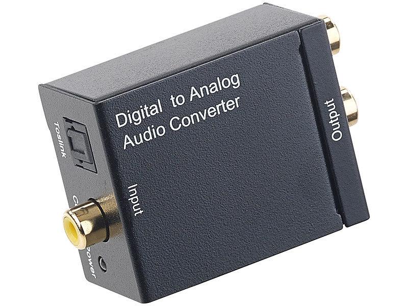 auvisio digital analog wandler audio konverter digital toslink koaxial zu analog cinch mit. Black Bedroom Furniture Sets. Home Design Ideas
