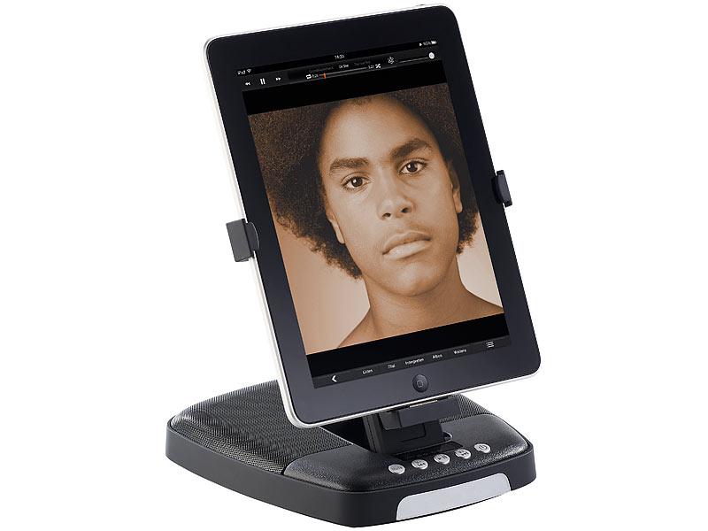 auvisio lautsprecher mit drehbarem dock f r ipad iphone bis 4s. Black Bedroom Furniture Sets. Home Design Ideas
